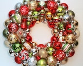 SALE Red and Green Ornament Wreath