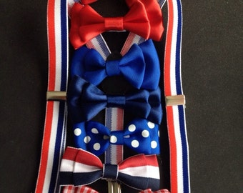 Bow tie and Suspenders Newborn Adult Royal blue Baby Bowtie Red White Blue Bowties Toddler Necktie Mens Patriotic ties boys Ring Bearer Gift