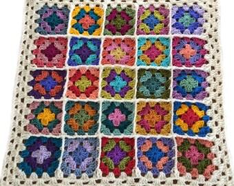 """Baby blanket crochet afghan crochet granny square afghan handmade blanket, 26""""x26"""" off-white border READY TO SHIP"""