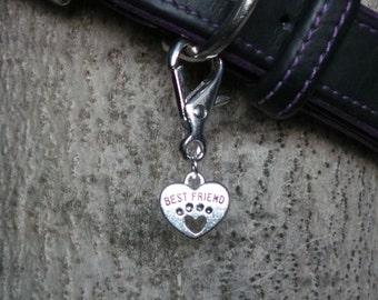 Best Friend Heart Dog Collar Charms