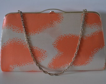 Silver and orange brocade handbag or clutch purse, wedding purse, 1980s vintage Japanese