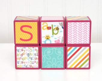 Baby Blocks Personalized - SET OF 6 - Girl - ABCs Animals Teal Pink Yellow Alphabet