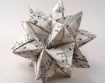 Medium Music Star Ornament, Christmas Ornament, Origami Star, Music Ornament, Origami Ornament