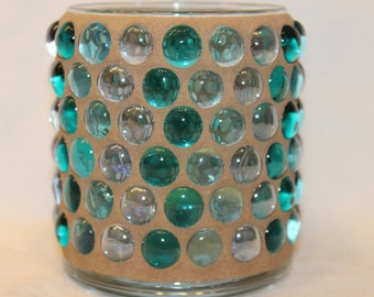 Green mosaic gem candle holder