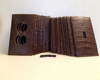 Faux Leather Switch Plate or Outlet Covers, Crocodile, Black and Brown - 1