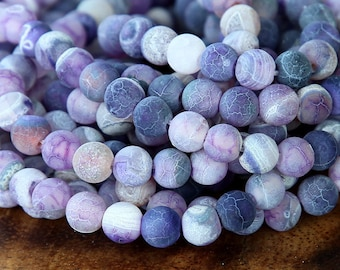 Frosted Agate Beads, Purple, 6mm Round - 14 inch strand - eGR-AGF06-6