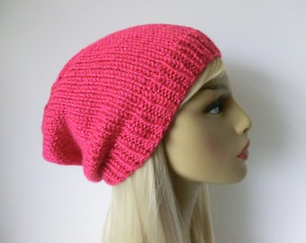 Slouch Beanie, Womens Slouchy Hand Knitted Hat- Glitter Pink (Acrylic, Wool Free- Vegan Friendly)