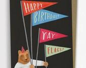 Yay Flags Bear Birthday Card / No. 235-C