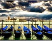 Italy Venice gondols HDR canvas print art work  30x42 inches