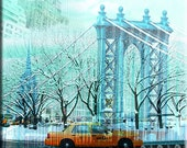 Digital art mixed new york and cab canvas art print 35x40 inches
