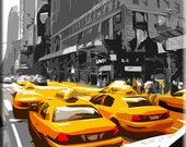 Digital art painted effect yellow cab taxi new york  canvas art print 35x38 inches