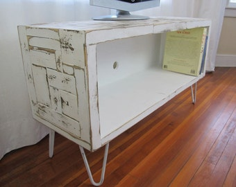 Modern, Mid Century , Reclaimed Wood, Painted, Media console, Hairpin Legs, TV Stand,  ( Boho Collection)