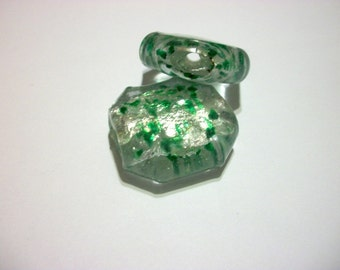 Large Focal Octagon Bead Clear with Green and Silver Foil   # X 8