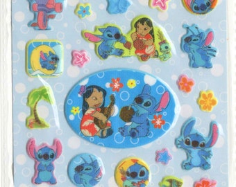 Kawaii japan sticker sheet assort puffy gliterry disney for Lilo and stitch arts and crafts
