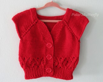 Baby vest/ short sleeve cardigan sweater 12 - 18 months for boy girl, XO infant fashion, unisex baby shower gift, photo props, knit in red