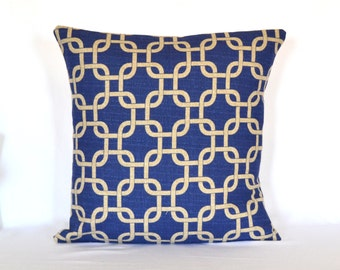 STORE CLOSING SALE Blue Chainlink Pillow, decorative pillow, throw pillow, accent pillow, cushion cover, premier prints