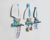 unique key holder with sailboats, reclaimed wood wall  rack, nautical wall organizer
