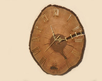 16'' unique walnut wall clock