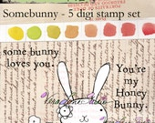 Quirky, whimsical and adorable bunny digi stamp set