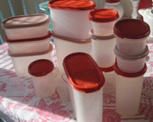 Pink and Red Tupperware Modular Mates. 26 Piece Set. Storage Containers