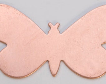 """Copper Blanks Butterfly With Rings 1 5/16 x 3/4"""" 24ga Pkg Of 6"""