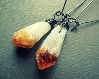 Raw Crystal Earrings / Citrine Earrings / Wire Wrap Crystal Dangle Earrings / Rough Gemstone Jewelry / Tribal Rustic Hippie Bohemian Boho