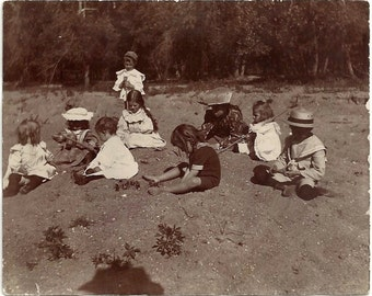 Old Photo Children at the Beach Girls Boys Playing in the Sand Early 1900s Photograph snapshot vintage Kids