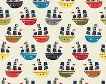 Fat Quarter Treasure Map Pirate Ship Cream Flannel Quilting Fabric - Riley Blake