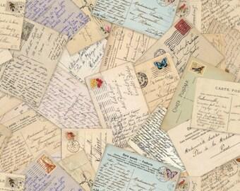 Fat Quarter Spring In Paris Post Cards Cream Cotton Quilting Fabric