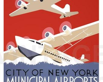 Vintage Photo City of New York Municipal Airport WPA Poster Reprint
