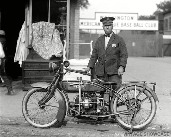 Vintage Photo Motorcycle Cop Police Officer - Eslie Williams Old Photo Reprint