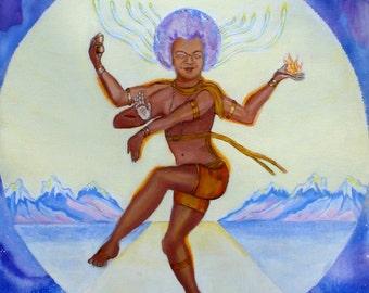 ORIGINAL ART Sathya Sai Baba Sai Siva acrylic painting