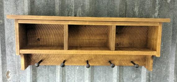 Rustic Reclaimed Shelf Cubby Coat Rack