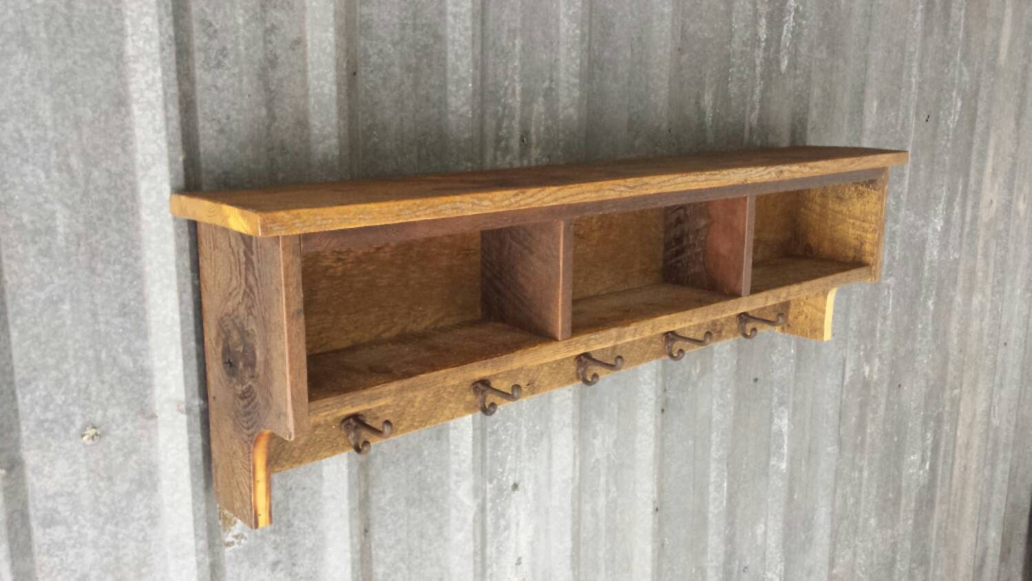 Barn Wood Shelves ~ Rustic reclaimed barnwood shelf cubby coat rack by