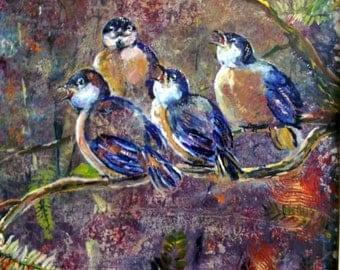 Nature painting, original art, blue birds, baby birds, acrylic, original painting, ready to hang,contemporary art