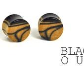 Black and White Ebony Plugs (Tiger Ebony) Organic Ear Plugs
