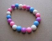JEWELRY SALE- Girls Bracelet- Beaded Children's Jewelry- Pink, Purple, Blue, White