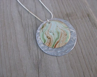JEWELRY SALE- Tan, Green, and Silver Necklace- Patina Necklace-Marbled Patina Circle with Textured Silver Base