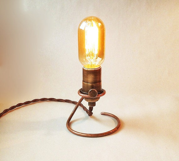Hand Forged Edison Lamp.  Base is solid copper. Makes a great table, accent, mantle or night light. Wedding Lamp.