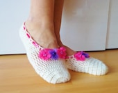 Bridal Wedding Dance Shoes Slippers , Bridal Party Bridesmaid,Crochet,Ballerina,Flower.