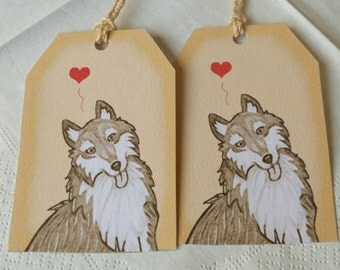 cute wolf dog gift tags - cute illustration - animal note - love heart favor tags
