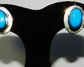 Sterling Silver Persian Turquoise Earrings Estate Jewelry Hallmarked