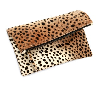Leopard fold over clutch, Leopard Clutch, Leather leopard clutch, Lepoard clutch