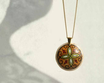 Hand Painted Wood Art Pendant, Gold Plated Chain Necklace, Beige, Brown Pendant, Art Jewelry by Artdora
