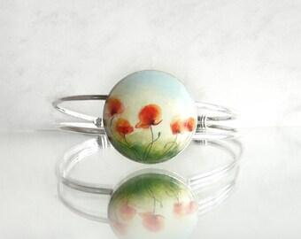 Chic Poppy Bracelet Poppies Bangle Hand Painted Bracelet, Hand Jewelry,  Painting on Wood, Bracelet Setting, Handmade Bracelet by Artdora