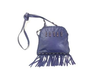 Navy Leather Fringe Bag - Small Leather Fringe Satchel - Beaded Ethnic Bag - Small Leather Fringe Purse