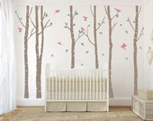 Tree with birds Wall Decal. Wall Sticker. Vinil wall decal. Birch trees