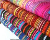 Stripes Cotton Fabric, Colorful Stripe Cotton Polyester Blended, BOHO Bohemian Style- 1/2 Yard
