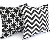 Black and white throw pillows pair decorative cushion covers shams black chevron and black links Gotcha