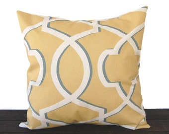 Throw pillow cover saffron yellow gray ivory modern geometric cushion cover pillow sham Morrow Saffron